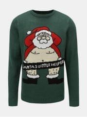 Shine Original tmavě zelený svetr s motivem Santy Xmas