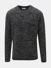 Shine Original tmavě šedý žíhaný svetr s kulatým výstřihem