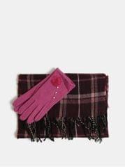 Something Special sada šály a vlněných rukavic v růžové a fialové barvě v dárkovém balení