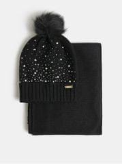 Something Special sada čepice a šály v černé barvě v dárkovém balení