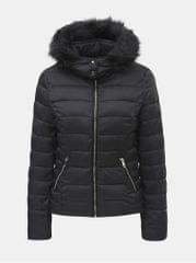 TALLY WEiJL černá zimní prošívaná bunda s odnímatelnou kapucí Woven