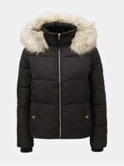 Miss Selfridge černá prošívaná zimní bunda s odnímatelným umělým kožíškem na kapuci Puffer