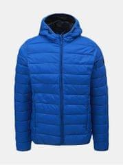 Blend modrá prošívaná bunda s kapucí