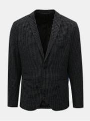 Selected Homme šedo-černé kostkované sako s příměsí vlny