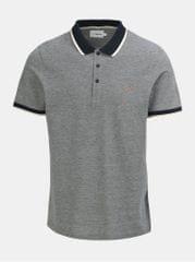 Farah šedé žíhané polo tričko s krátkým rukávem Basel