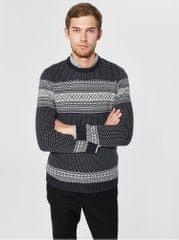 Selected Homme bílo-modrý svetr z organické bavlny Flake