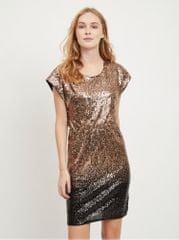 VILA šaty s flitry v černo-zlaté barvě Elvia