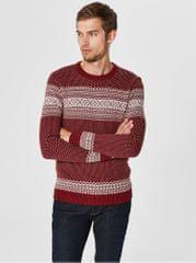Selected Homme bílo-červený svetr z organické bavlny Flake