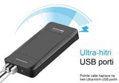 Promate prijenosna baterija Power Bank, 20.800 mAh, crno/srebrna