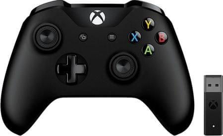 Microsoft bežični kontroler za Xbox One, crni + USB adapter za Windows 10