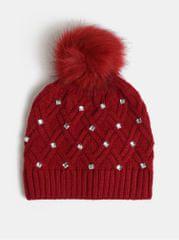 Something Special červená čepice s bambulí a ozdobnými kamínky v dárkovém balení Diamante hat