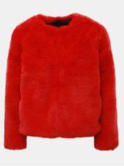 TALLY WEiJL červený krátký kabát z umělé kožešiny