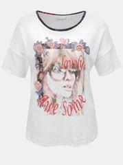 Rich & Royal bílé volné tričko s potiskem a kamínky