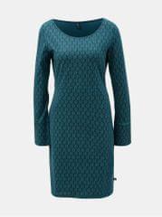Tranquillo tmavě zelené šaty s motive listů a rozparkem na rukávech Hemera
