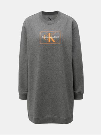 32c97df89a40 Calvin Klein Jeans šedé žíhané mikinové šaty s potiskem L