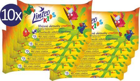 LINTEO Mokre chusteczki dziecięce Kids szkolne - 10 x 15 szt