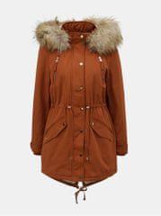 Miss Selfridge cihlová zimní parka s umělým kožíškem