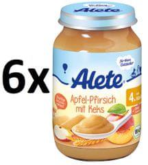 ALETE BIO Jablečno-broskvový příkrm se sušenkami - 6x190g