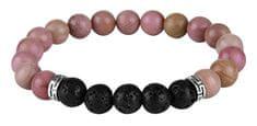 Troli Zapestnica iz roza kroglic in lavovih kamnov