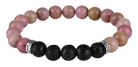 Troli Bransoletka wykonana z różowych koralików i kamieni lawowych