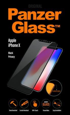 PanzerGlass zaščitno steklo Black Privacy za Apple iPhone X