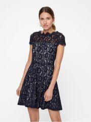 ebebff91b Vero Moda šedo-modré krajkové šaty s krátkým rukávem Jackie
