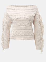 Miss Selfridge světle růžový svetr s odhalenými rameny a třásněmi
