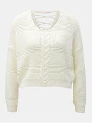 Miss Selfridge krémový krátký volný svetr se šněrováním