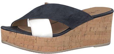 Tamaris Női papucs1-1-27218-20-787 Blue Suede/Wht (méret 40)