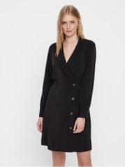 Vero Moda černé šaty s dlouhým rukávem a překládaným výstřihem Pearl