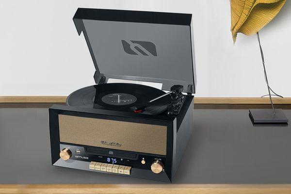 Gramorádio Muse MT-110 funkce nahrávání dosah 10 m Bluetooth digitalizace CD přehrávač retro vzhled