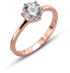 Oliver Weber Ružovo pozlátený strieborný prsteň Brilliance 63222RG striebro 925/1000