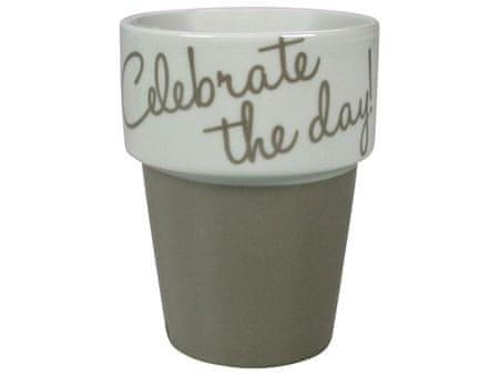 GUSTA Hrnek na kávu šedohnědý Celebrate the day!