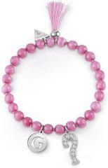Guess Różowy zroszony bransoletka z chwostem UBB85032-S