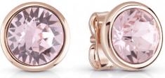 Guess Bronzové náušnice pecky s růžovým krystalem UBE83052
