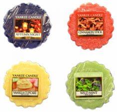 Yankee Candle Sada vonných voskov 4 ks (4 × 22 g) Autumn Night / Cinnamon Stick / Vanilla Cupcake / Wild Mint
