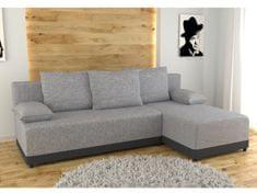 Rohová sedačka TIWI univerzální, šedá látka/černá ekokůže