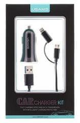 USAMS CC013 A-TU USB Autodobíječ + U-Gee 2v1 Kabel Black (EU Blister) 2432903