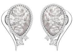 Preciosa Elegantné náušnice Ines Matrix biele 6111 11 striebro 925/1000