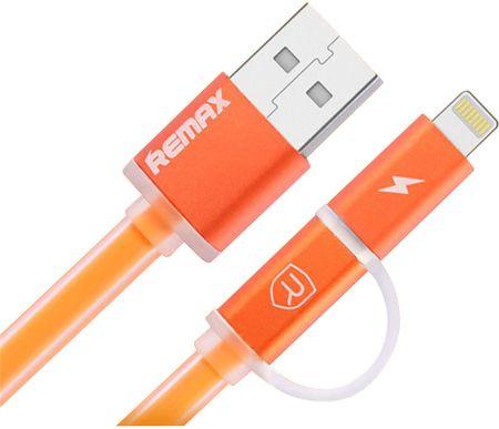 REMAX Az AURORA micro USB / Lightning AA-1147 adatkábel - narancssárga
