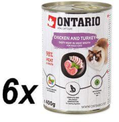 Ontario mokra karma dla kota Kurczak, indyk i olej z łososia - 6 x 400 g.