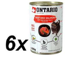Ontario Marhahús macskakonzerv, lazaccal, marhahússal és napraforgóolajjal, 6x400 g