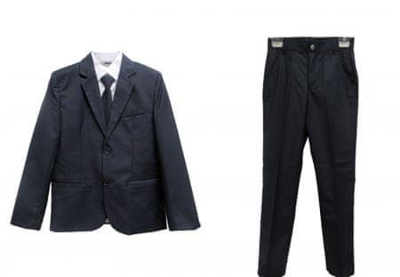 Topo chlapčenský oblek s kravatou 128 modrá