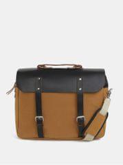 Enter hořčicový kožený batoh/taška s koženými detaily Brief 12 l