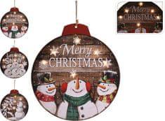 Koopman Vánoční svítící obraz Ø 29 cm sněhulák a stromek, 6 x LED