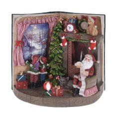 Koopman Vánoční scenérie 24 cm otevřená kniha Santa u krbu 1