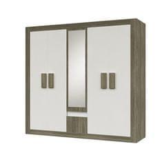 5-dverová skriňa so zrkadlom, dub sonoma trufel/biela, MEDIOLAN