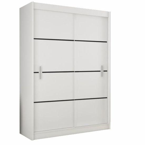 TEMPO KONDELA Skriňa s posúvacími dverami, biela/čierna, MERINA 150