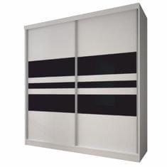TEMPO KONDELA Multi 11 2D šatníková skriňa 233x218 cm biela / čierna