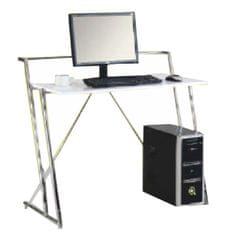 PC stôl ZIVO, biela extra vysoký lesk HG